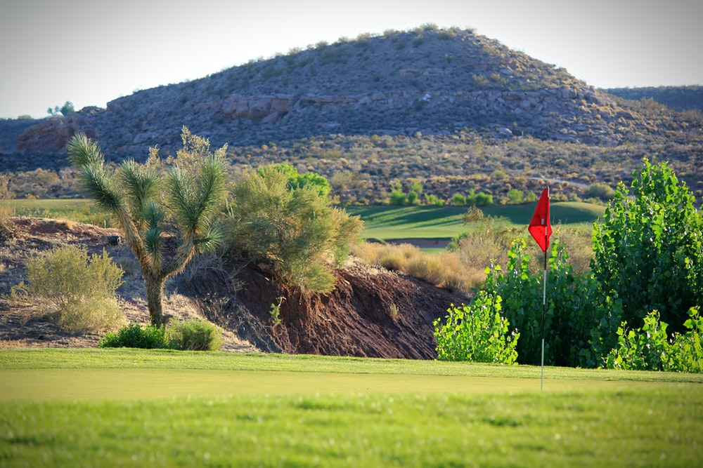landscape photo of a golf flag and hole
