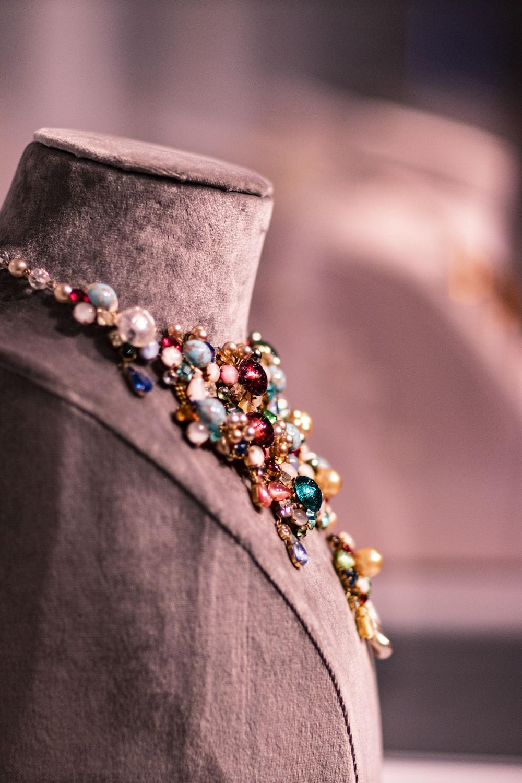 assorted-color gemstone jeweled bib necklace