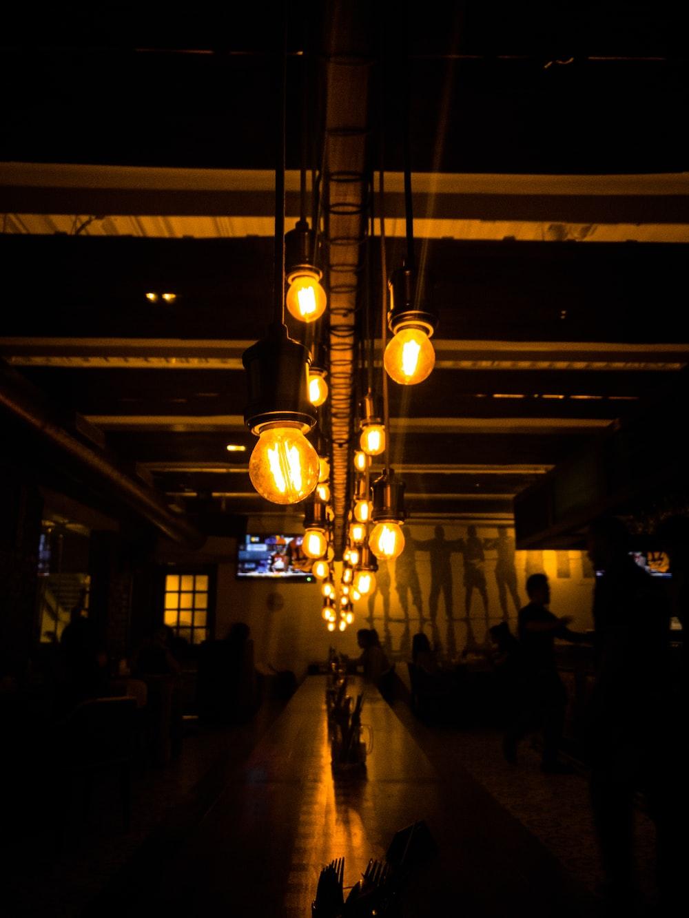 Black String Lights On Dark Room Photo Free Lighting Image