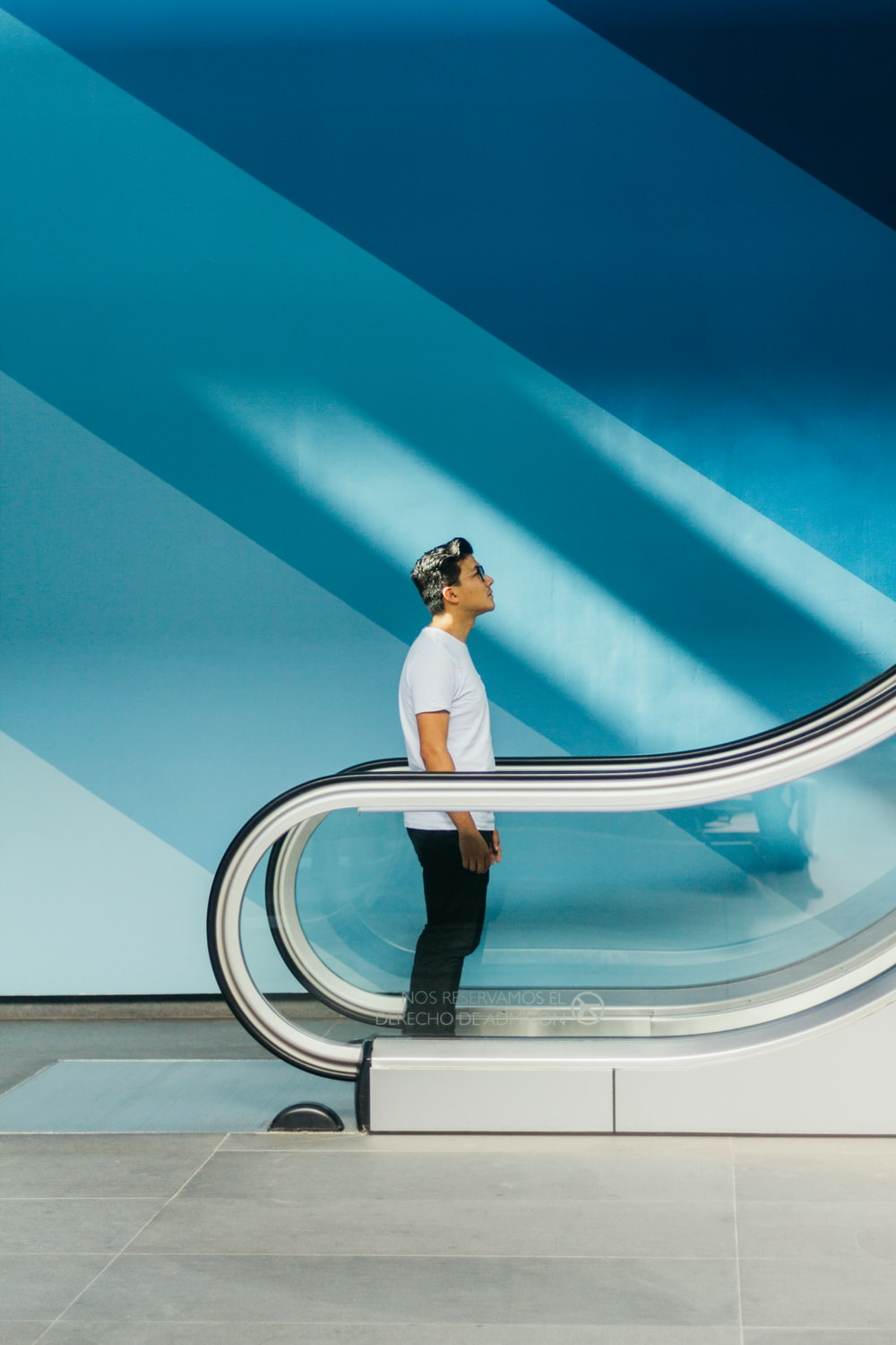 man standing on stairs