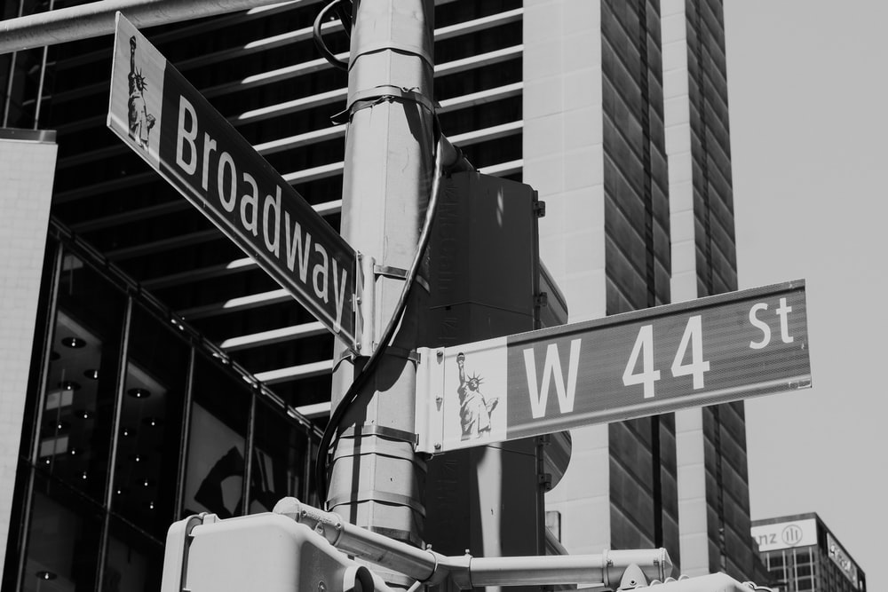 view of Broadway and W44 St signage at traffic light