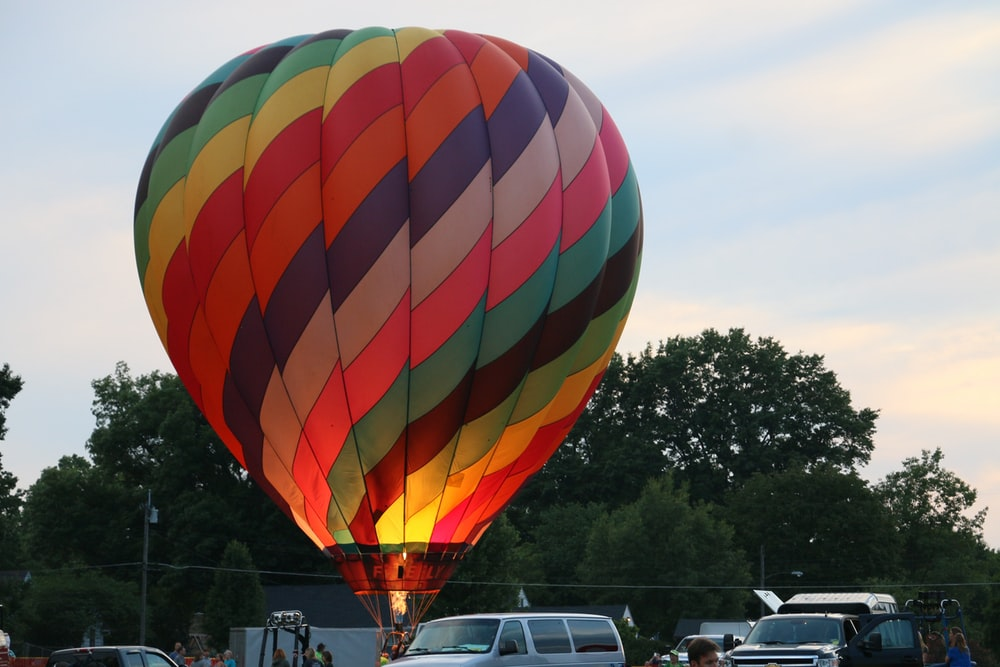 multicolored hotair balloon