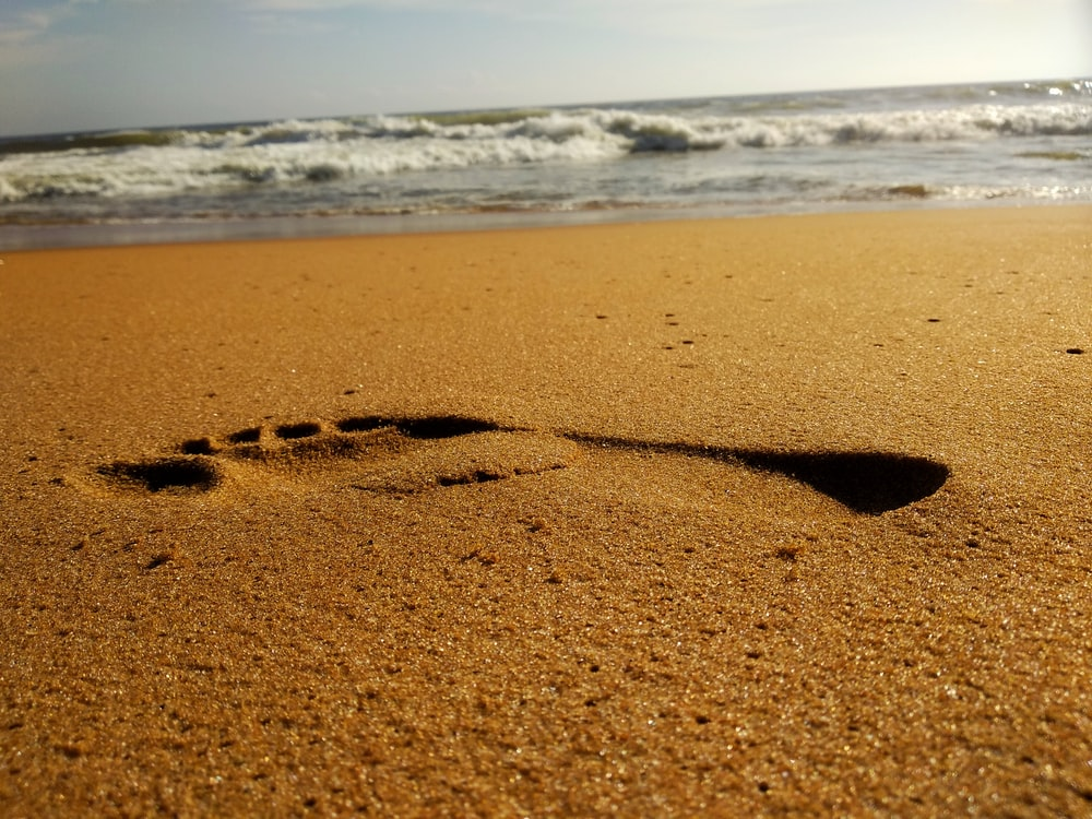 right foot print in the sand