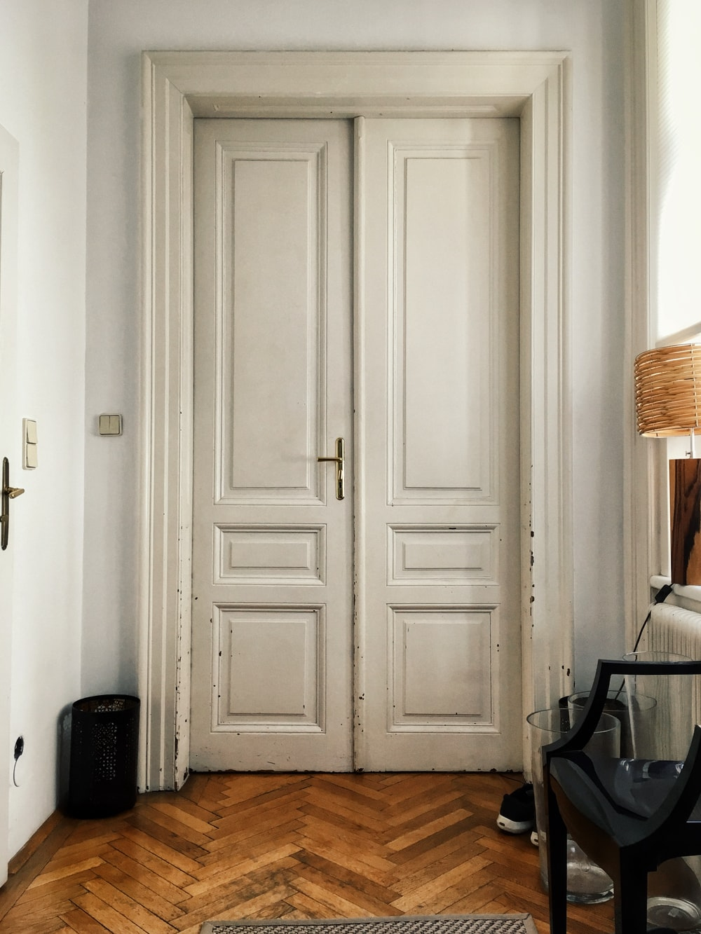 closed white wooden door