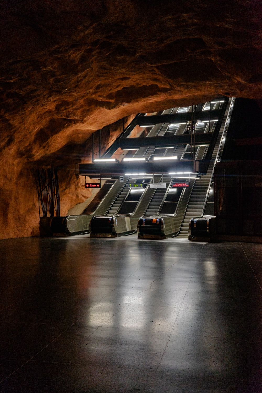 underground escalator with lights