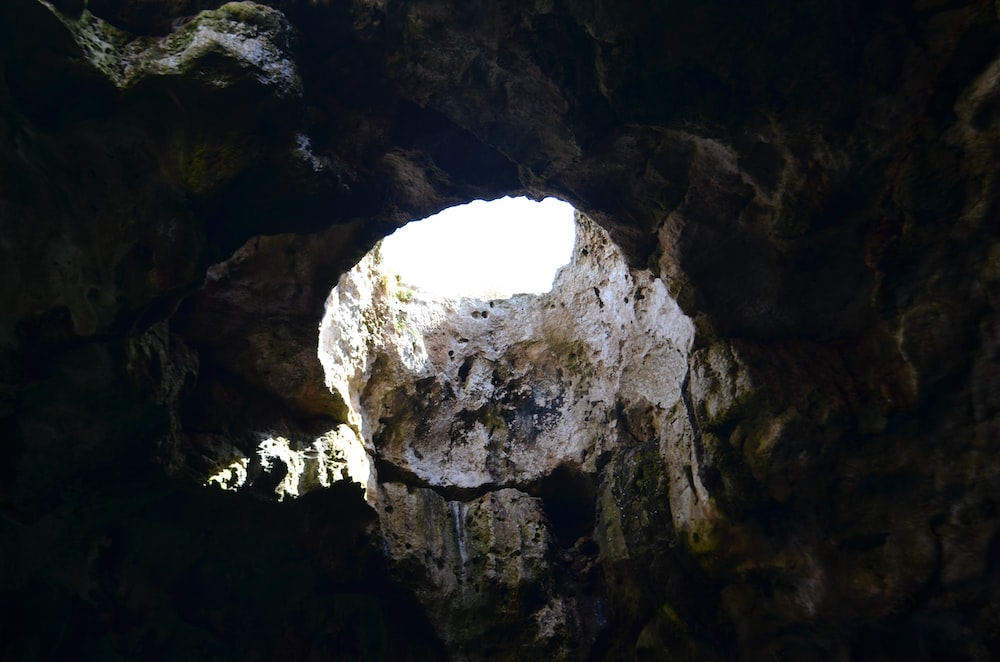 landscape photography of cave