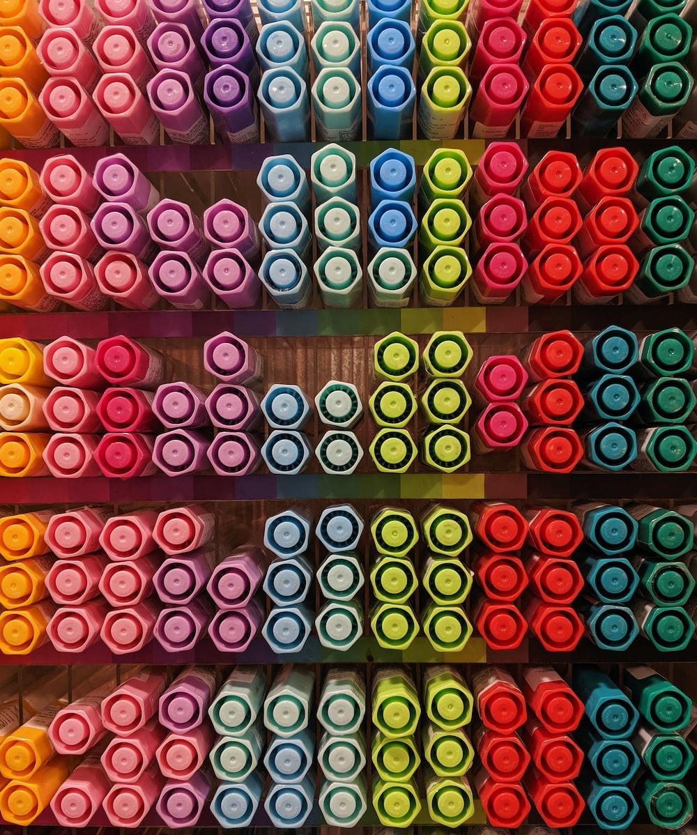assorted-color marker pens