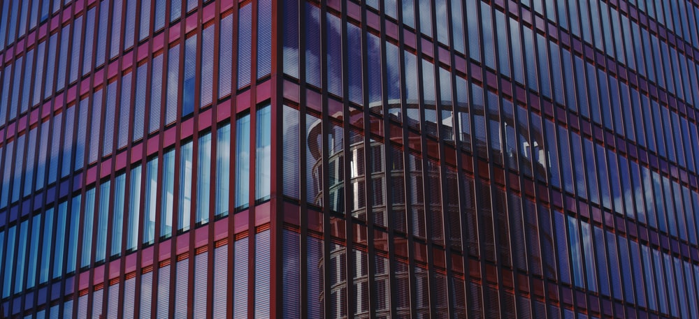red and blue curtain building