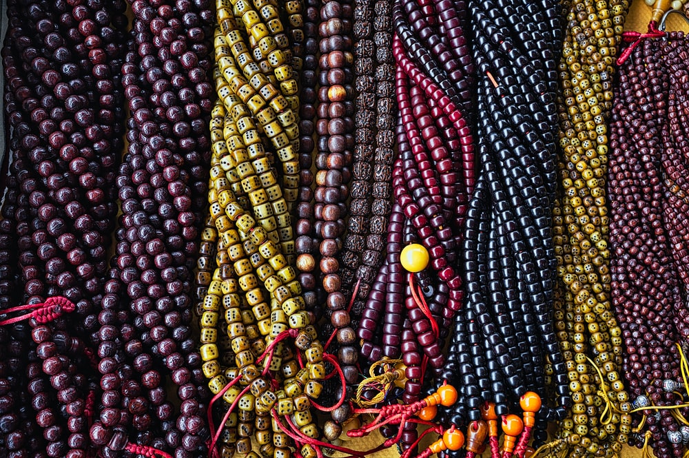 assorted-color beaded necklace lot