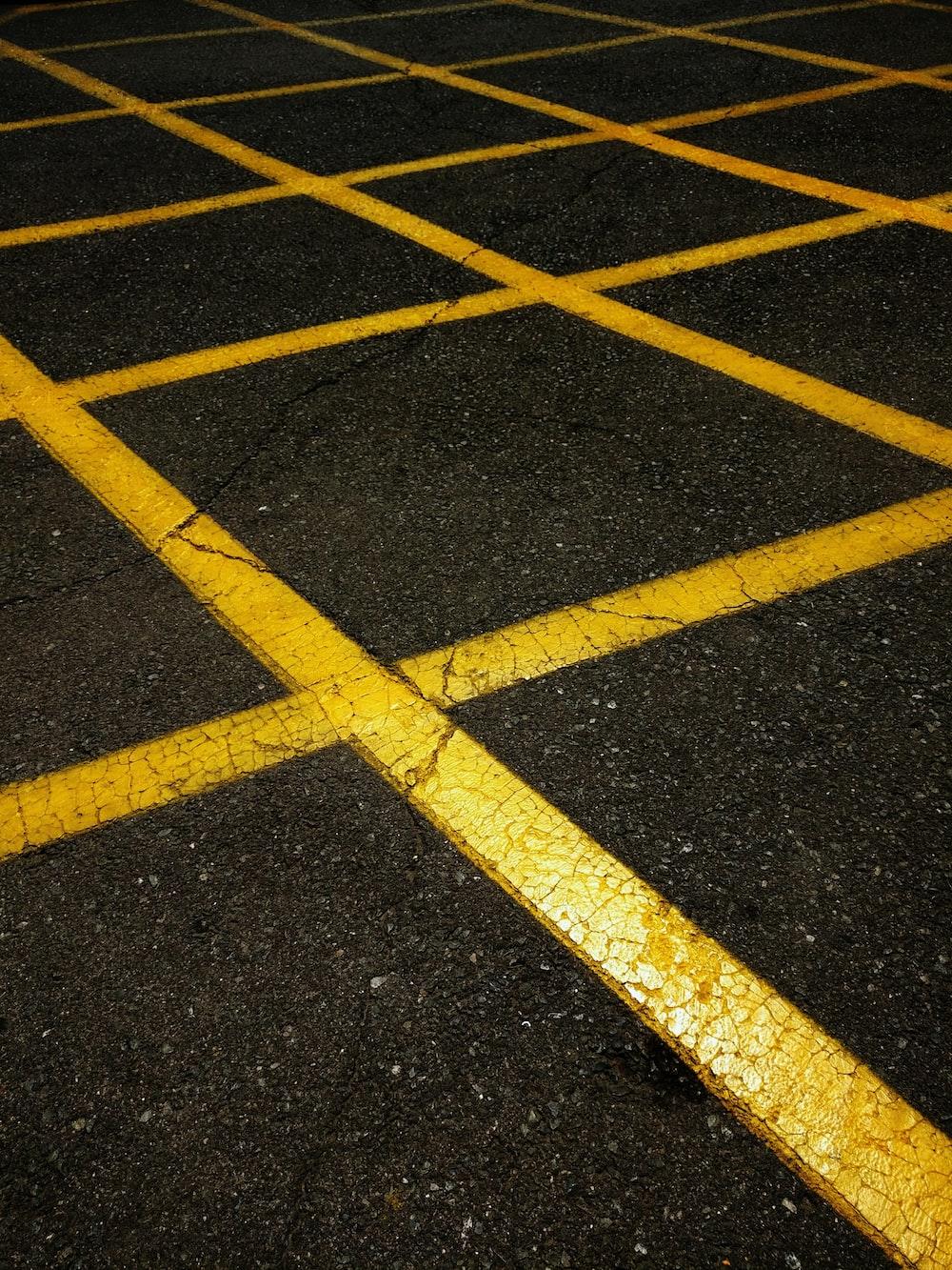 black and yellow pavement