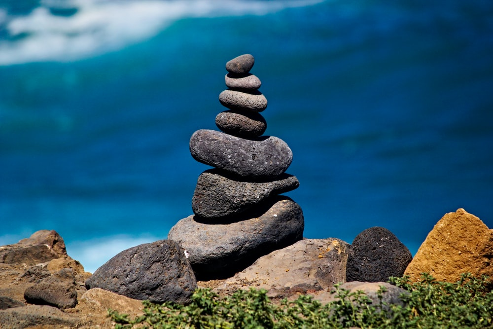 gray stacked stones photo