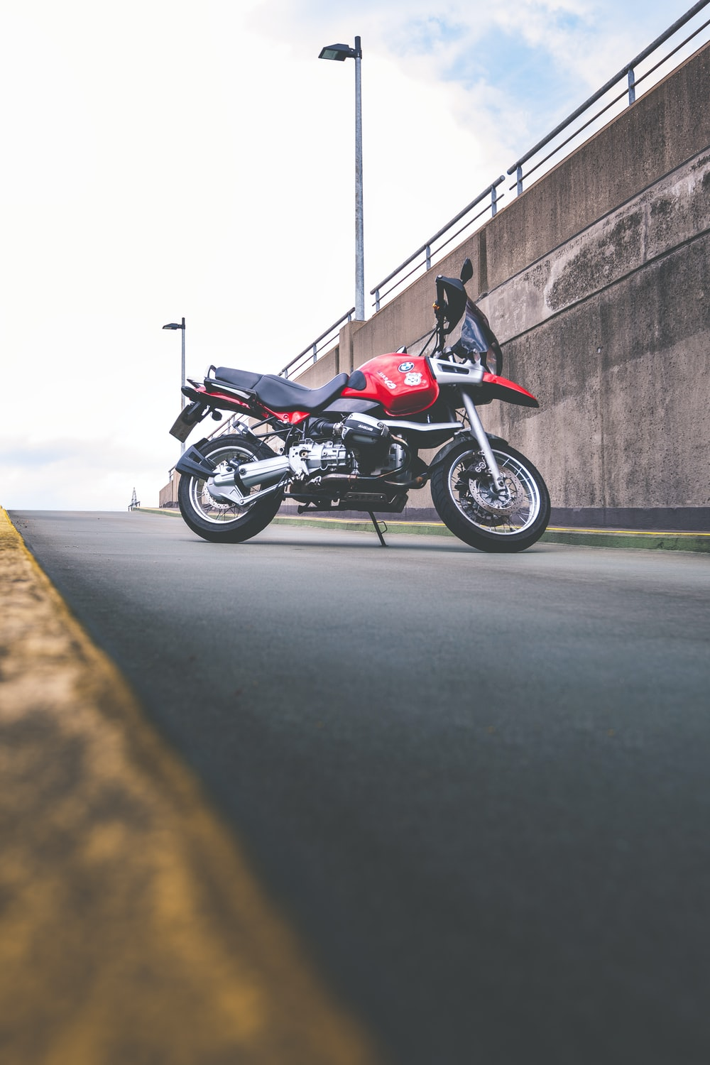 red and black standard motorcycle