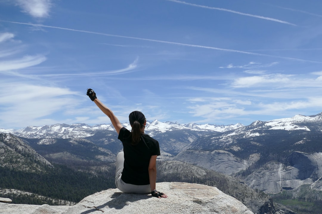 This is the view at the top of the Half Dome at Yosemite National Park (Elevation: 8,839) And the feeling after the most beautiful hike I've ever done and when your dream become finally true.