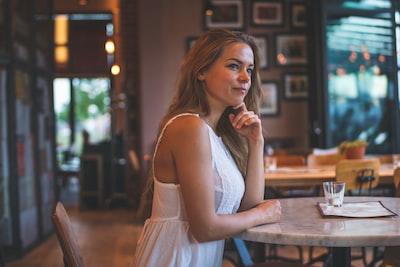 golden girl in a restaurant