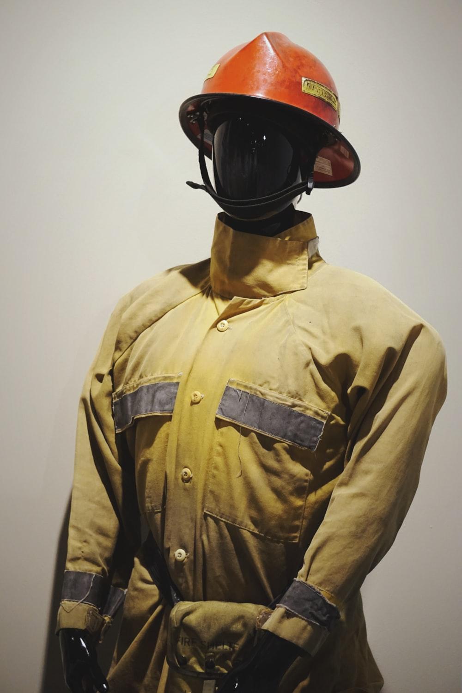 men's yellow fireman suit