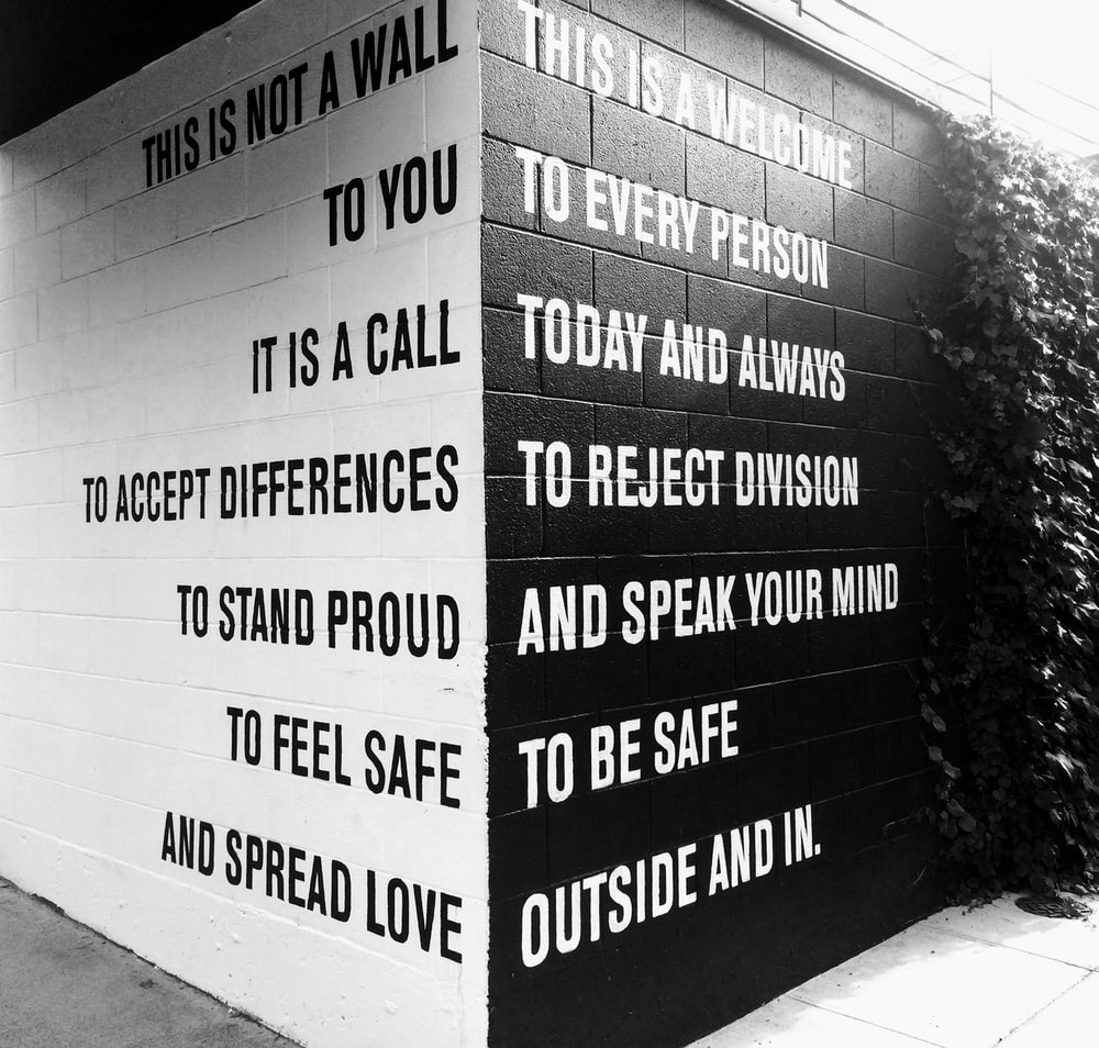 black and white text on wall