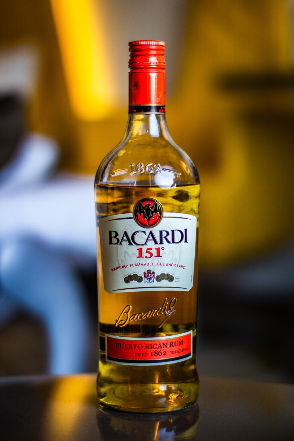 selective focus photography of Bacardi 151 bottle