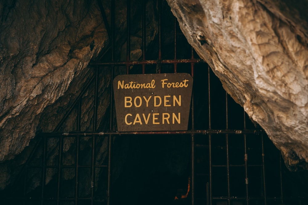 National Forest Boyden Cavern wooden sign