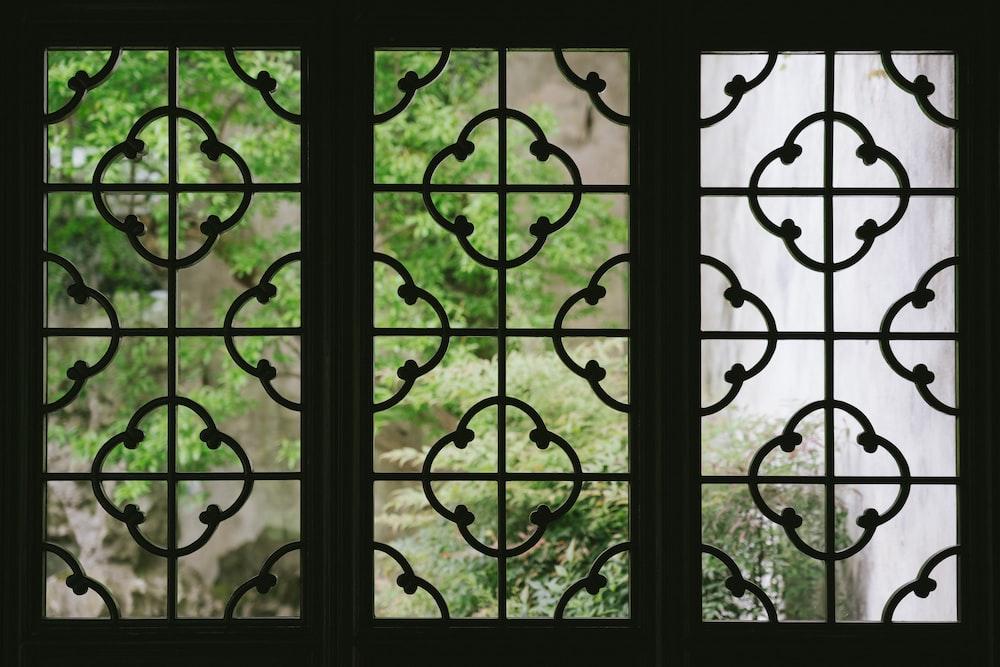 black metal window