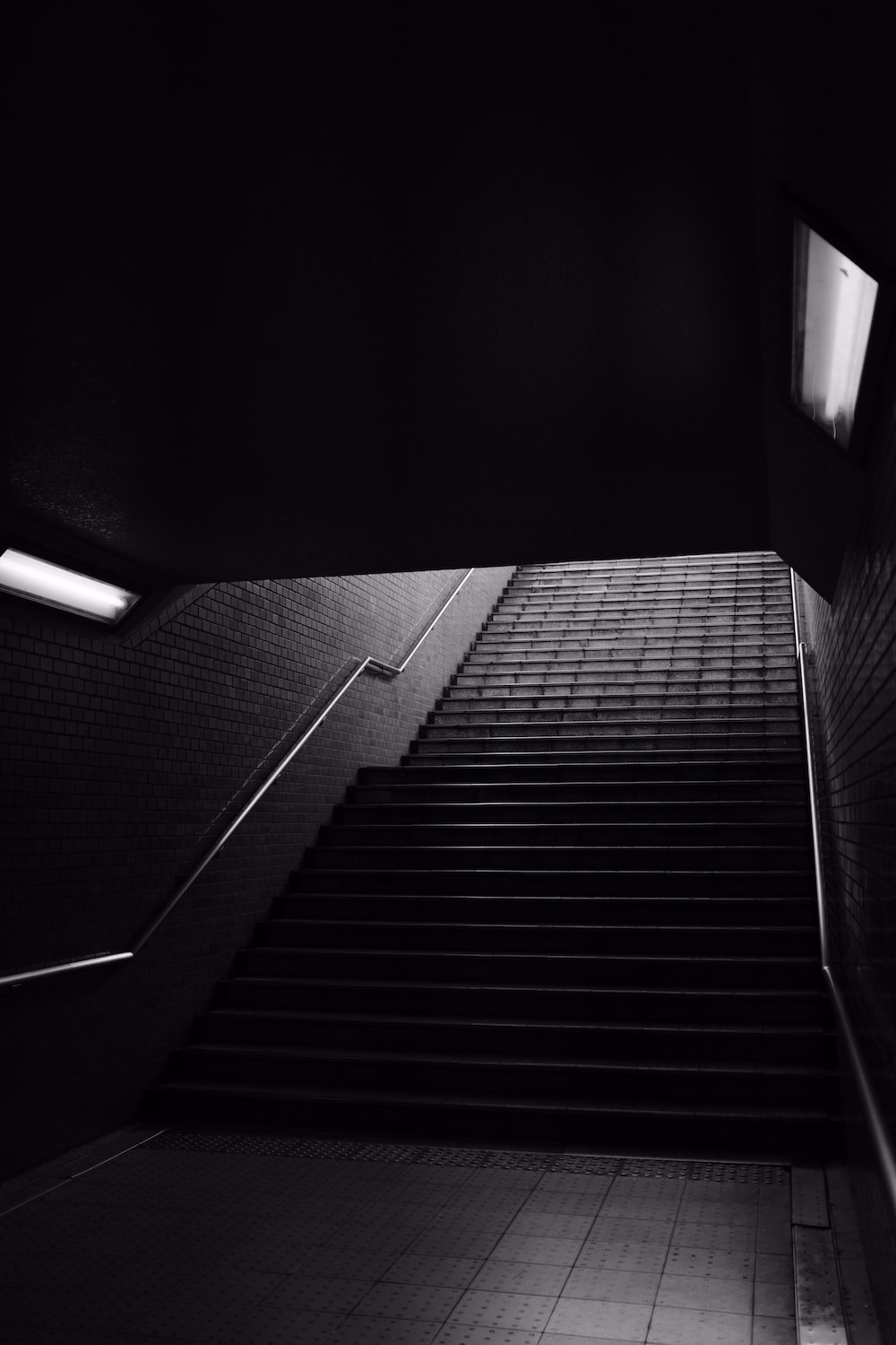 grayscale photography of stair