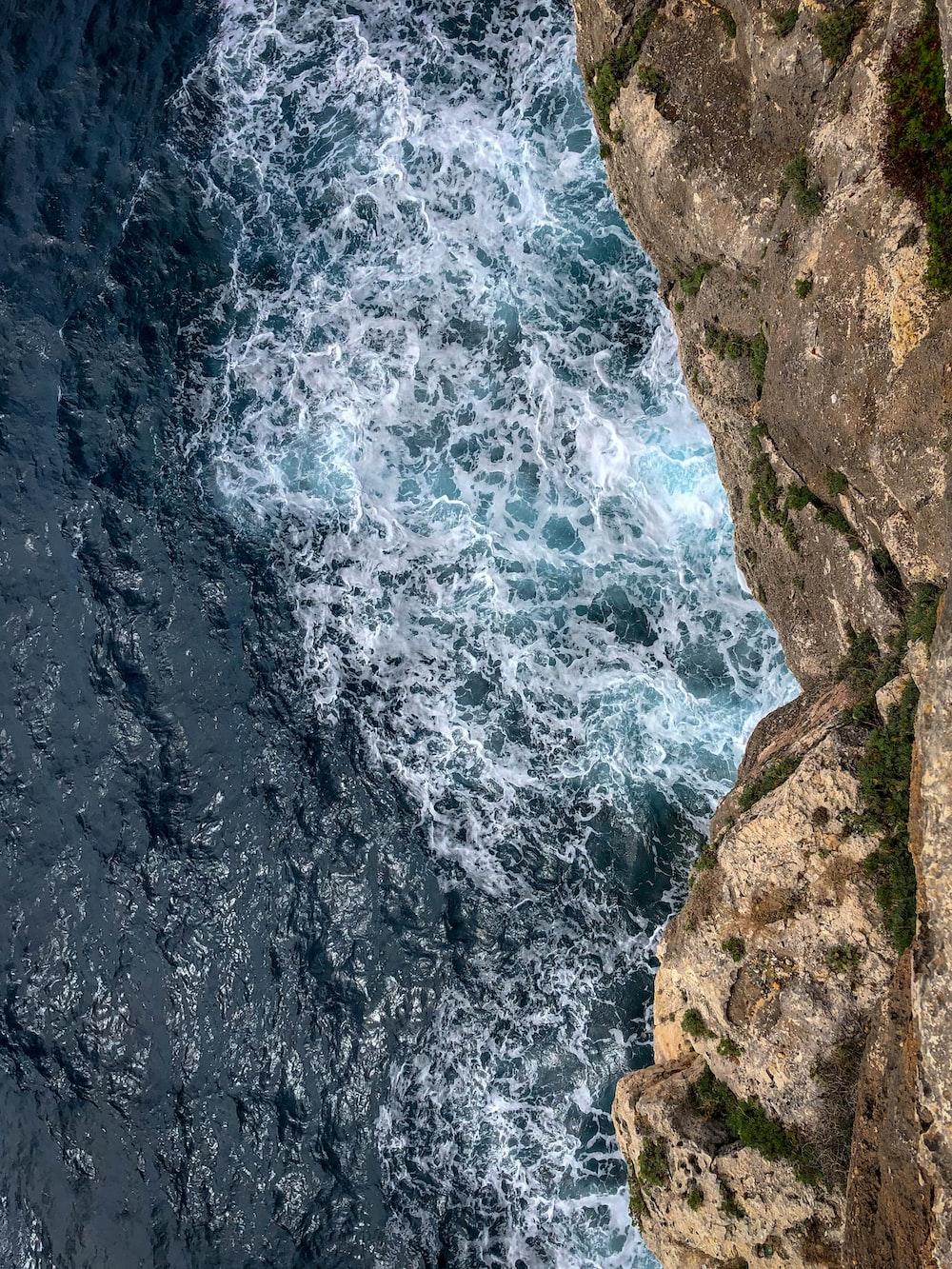 high angle photo of sea wave