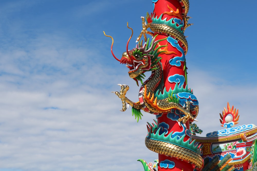 red and green dragon art work