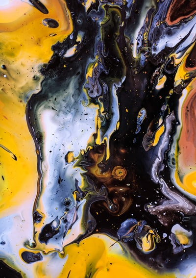 black and yellow abstract painting