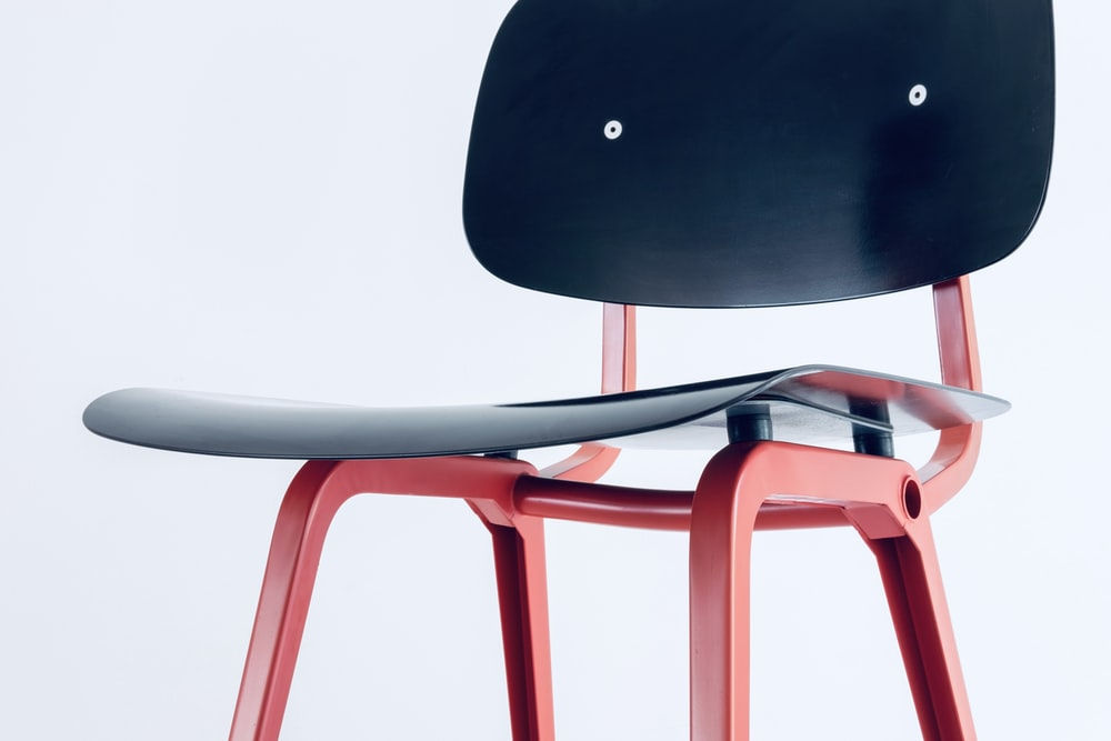 black and red metal chair