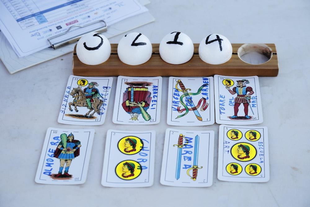 assorted-color tarot cards