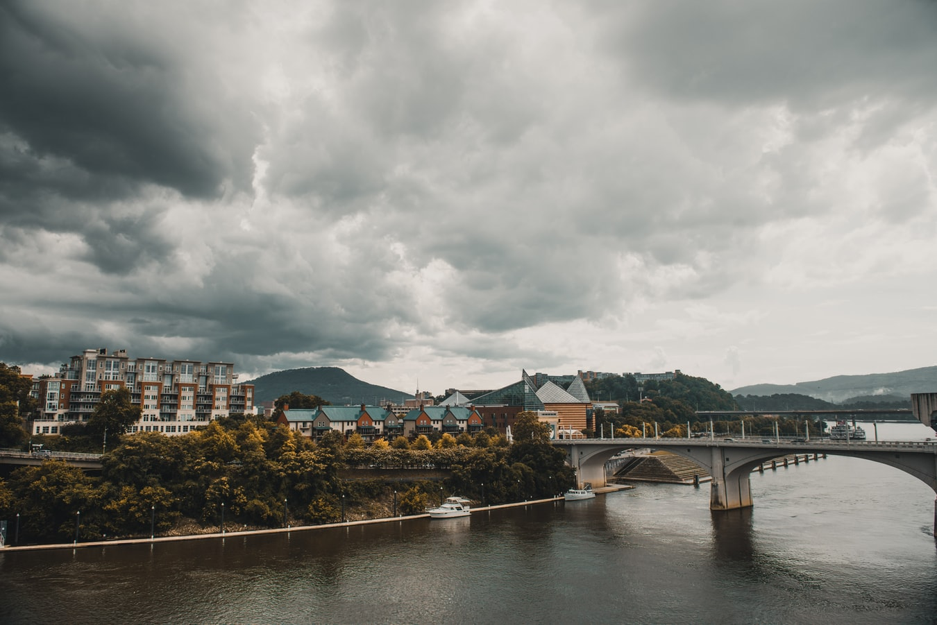 bridge and buildings on an overcast day in Chattanooga, TN