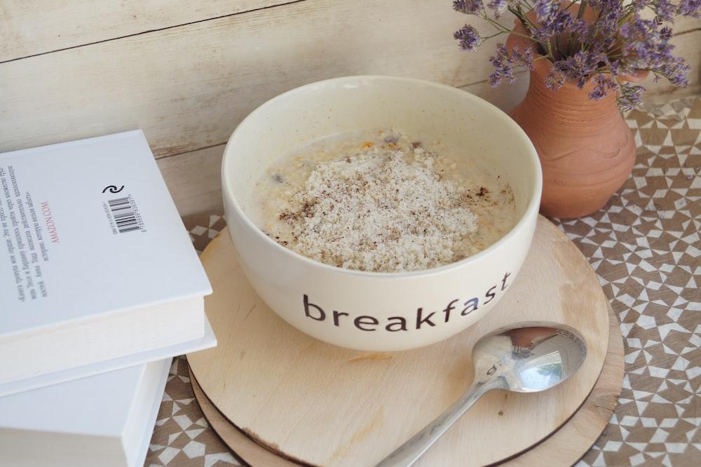 round white ceramic bowl with breakfast print