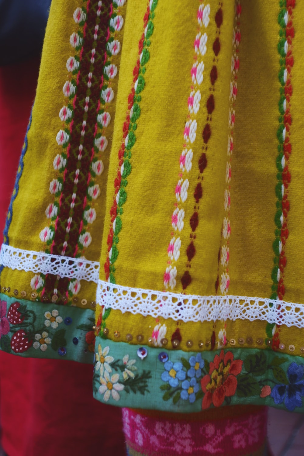 yellow and red textile