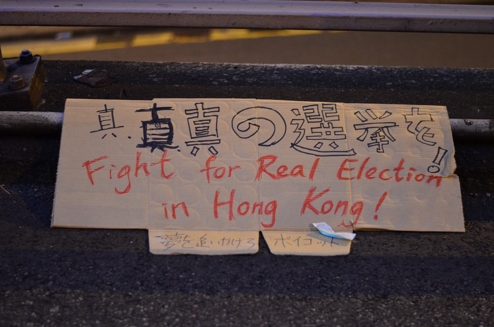 fight for real election in Hong Kong! text