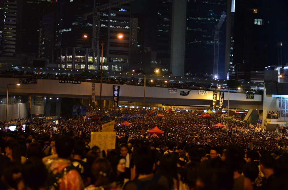 people rallying in Hong Kong