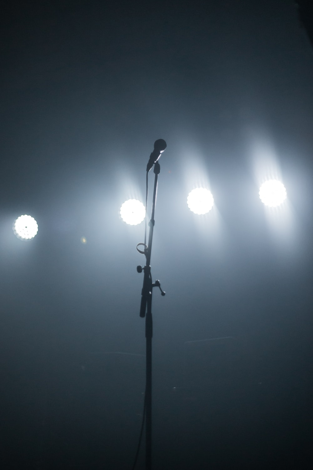 black microphone with stand
