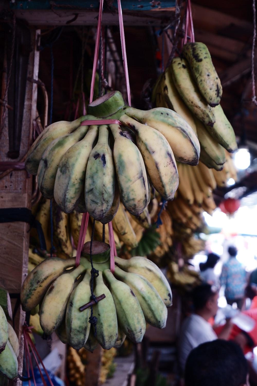 hanged yellow bananas