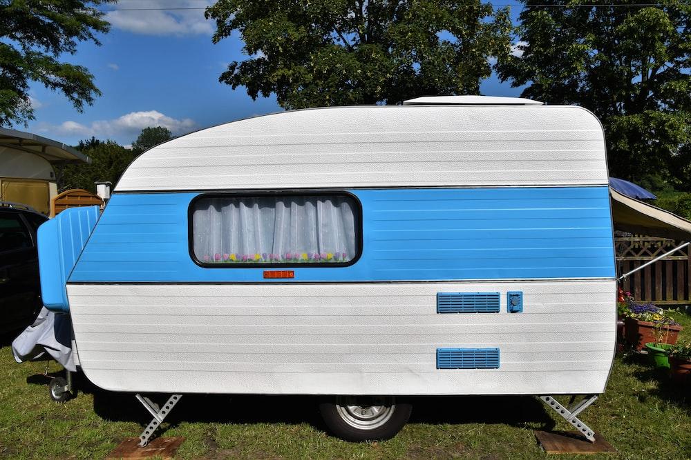 blue and white UV trailer