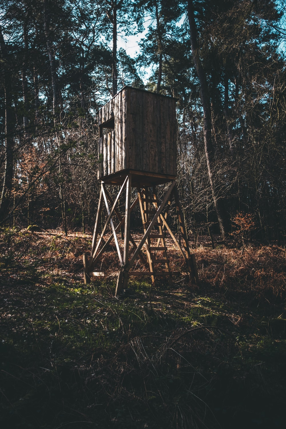 brown wooden shade with ladder on grass