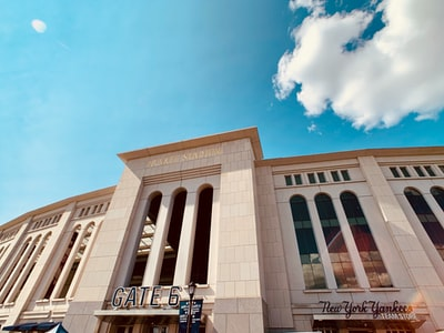 low-angle photography of building yankees zoom background