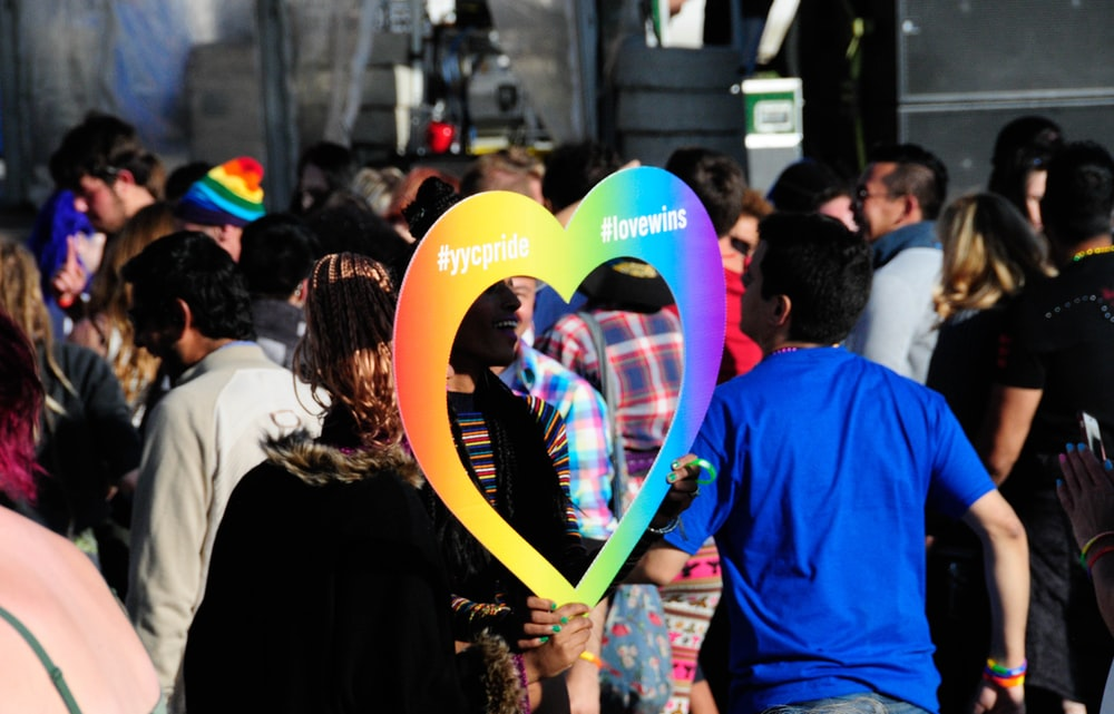 person holding multicolored heart frame across people
