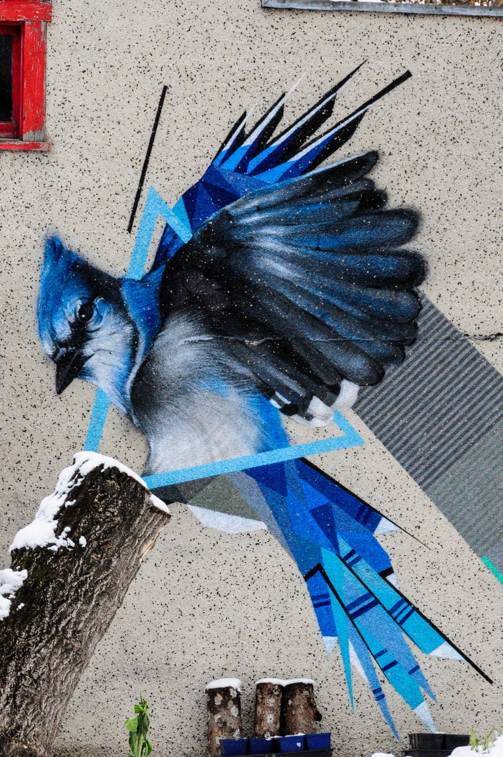 blue and white bird painting