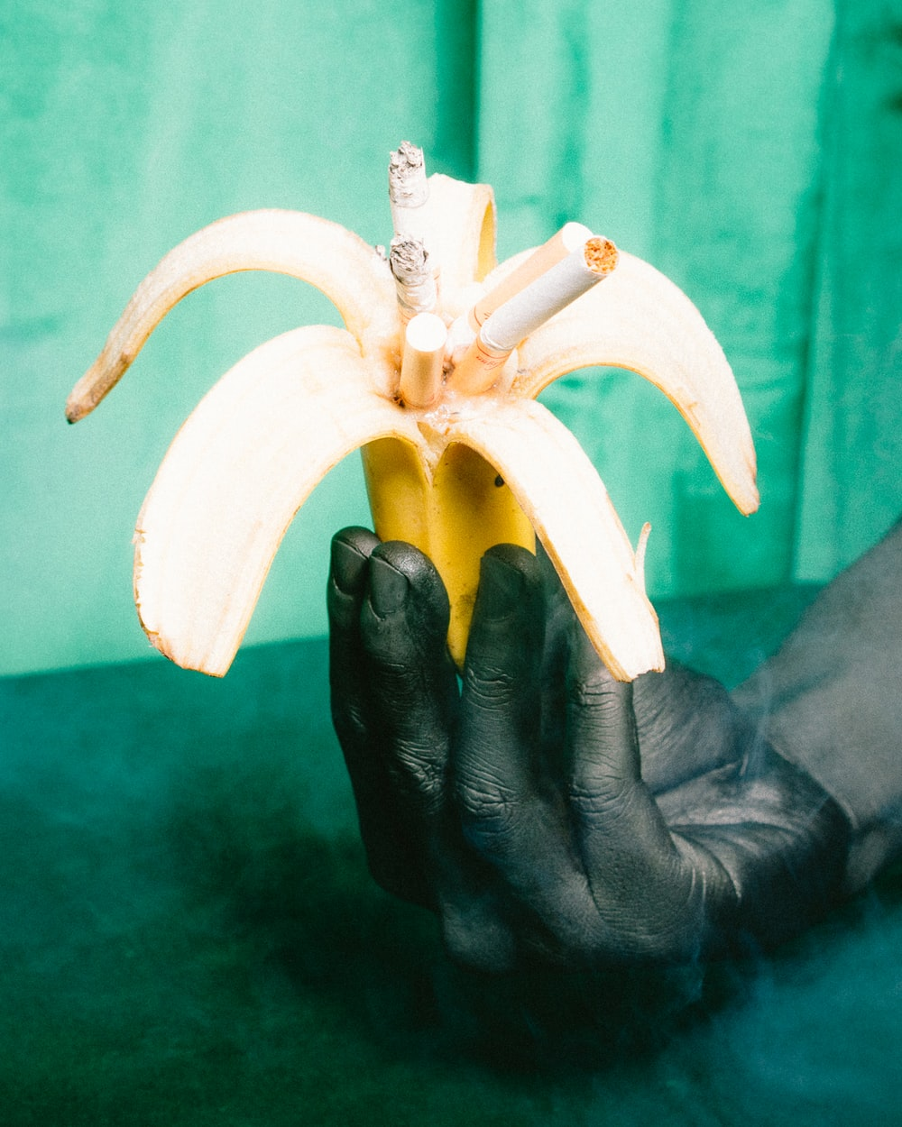 banana peel filled with cigarette butts