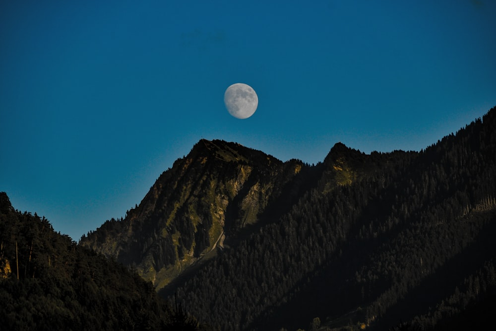 mountain slope and white moon scenery