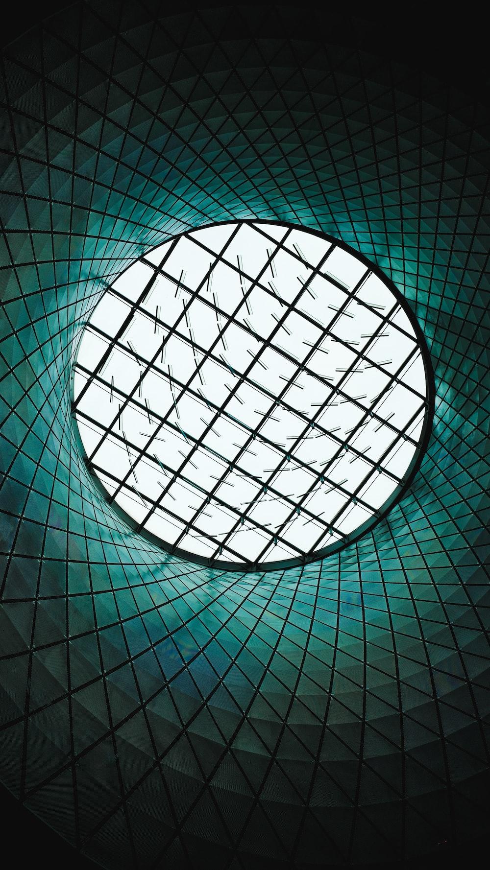 green glass building interior