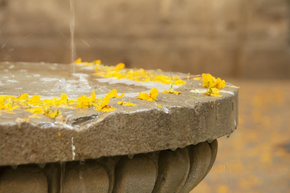gray cement fountain