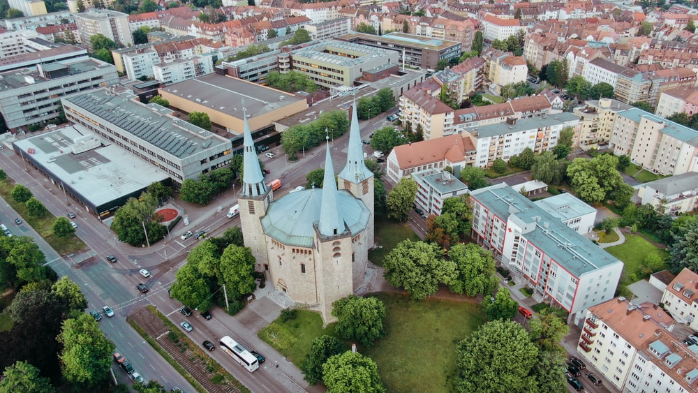 aerial photography of dome cathedral in the city
