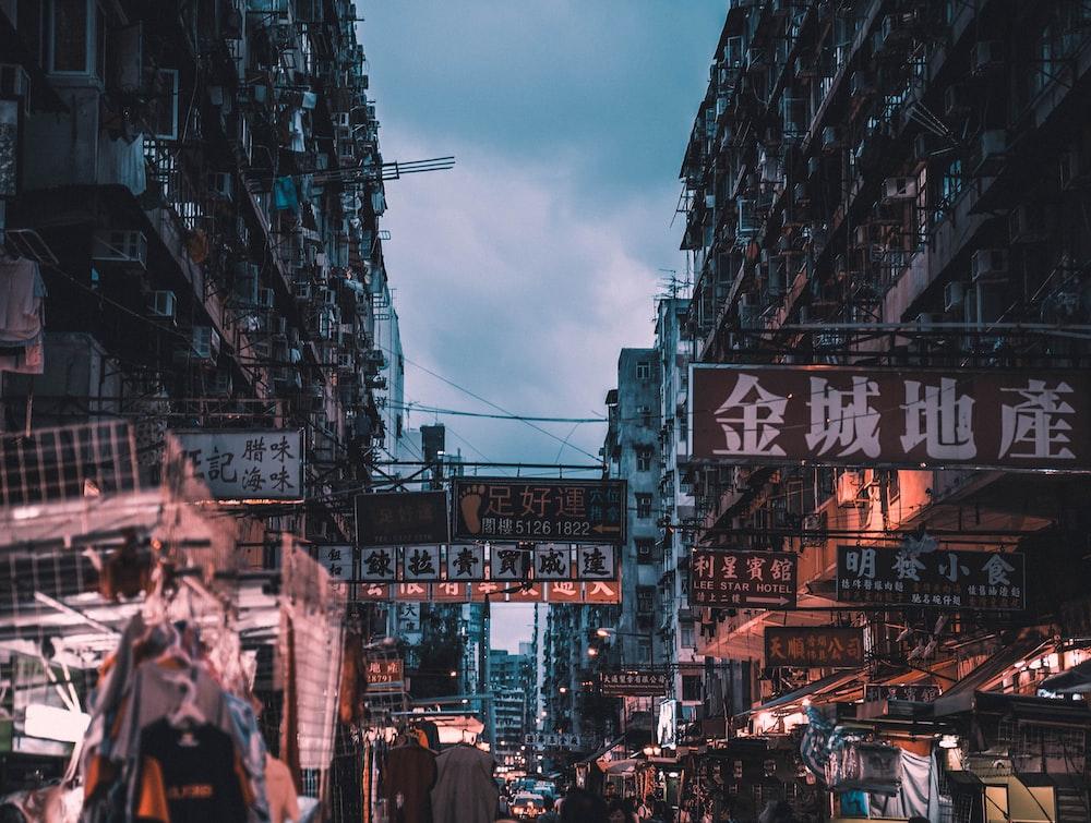 markets on street near buildings