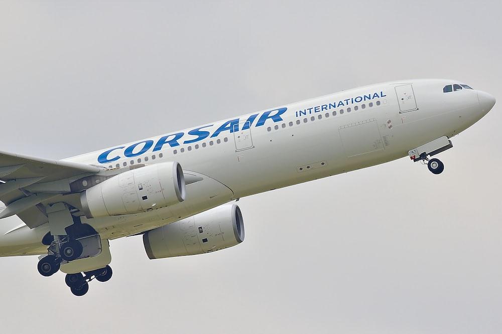 white Corsair international passenger plane