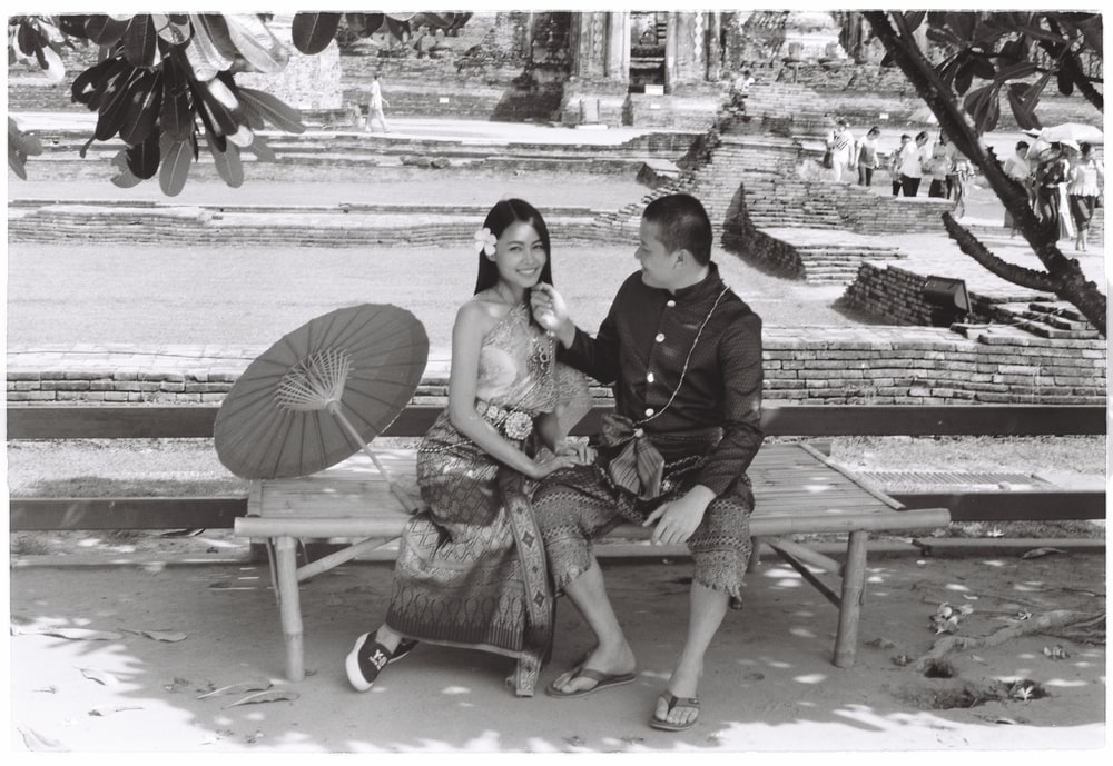 grayscale photography of couple