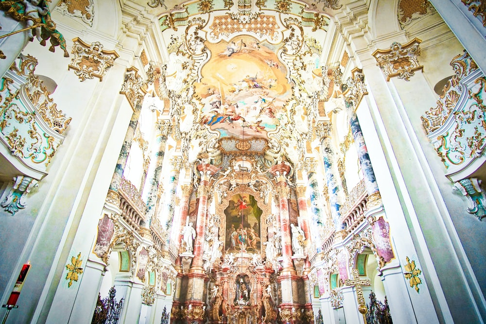 architectural photography of white cathedral